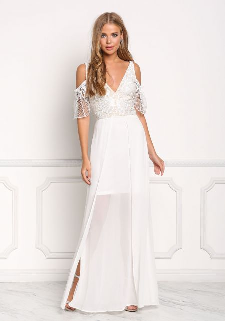 Ivory Cold Shoulder Embroidered Slit Maxi Gown