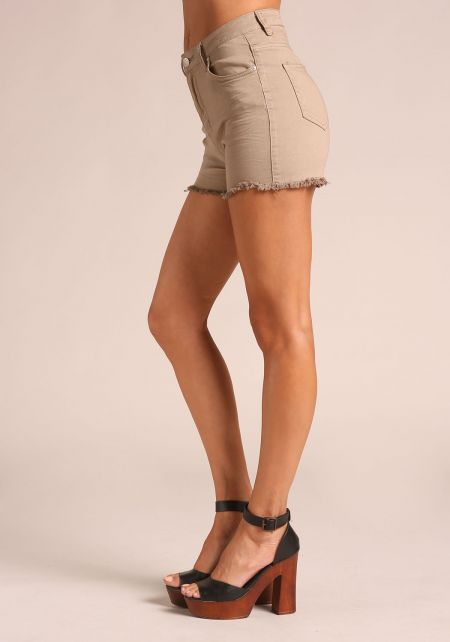 Khaki High Rise Denim Shorts