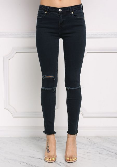 Dark Denim Knee Slit Skinny Jeans