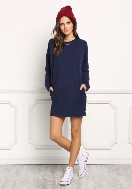 Navy Long Sleeve Pocket Shift Dress