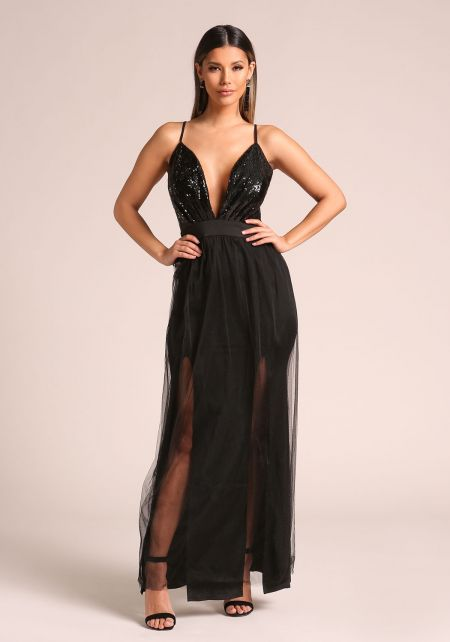 Black Plunge Sequin Tulle Maxi Gown