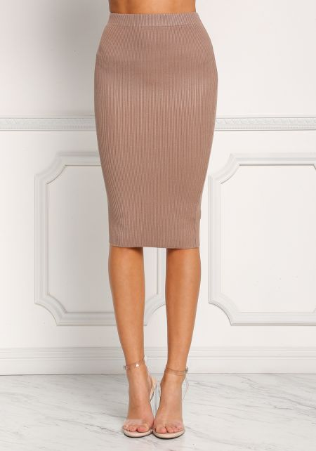 Khaki Ribbed Knit High Rise Skirt