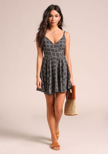Navy Printed Flared Dress