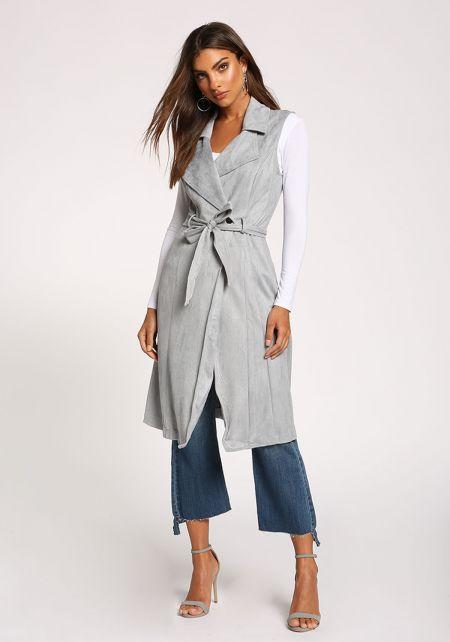 Grey Faux Suede Collared Waist Tie Vest