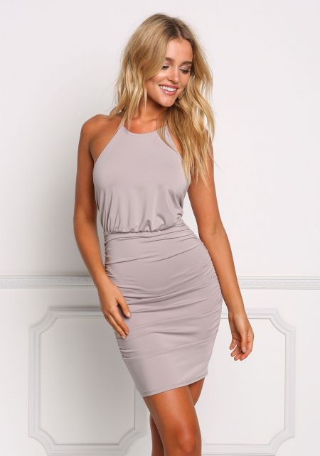Silver Ruched Halter Bodycon Dress