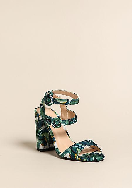 Green Tropical Leaf Multi Strap Heels