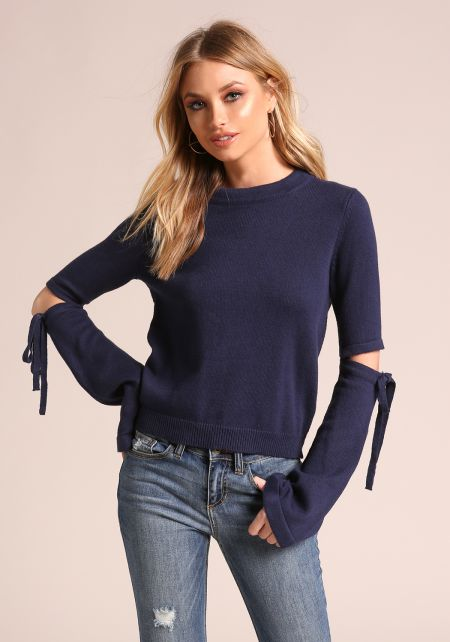 Navy Cut Out Soft Knit Sweater Top