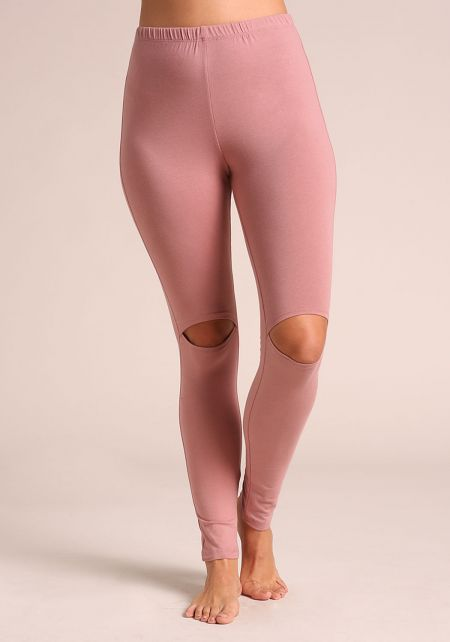 Pink Knee Slit Leggings