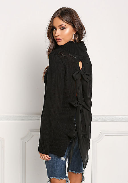 Black Back Ribbon Turtleneck Thick Knit Sweater