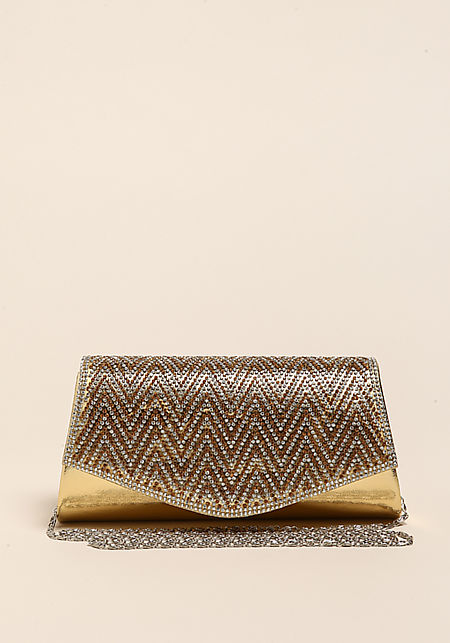 Gold Chevron Rhinestone Metallic Clutch
