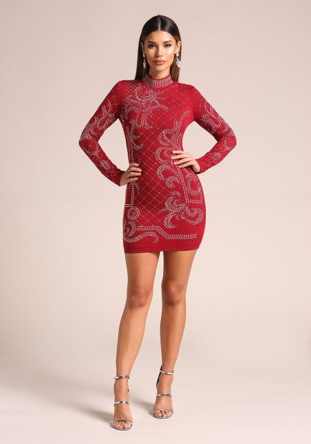Red Quilted Rhinestone Studded Bodycon Dress