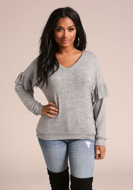 Heather Grey Ruffle Sleeve Soft Marled Top