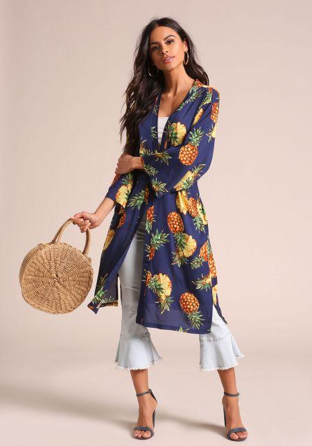 Navy Pineapple Slit Kimono