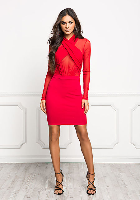 Red Cross Over Mesh Bodycon Dress