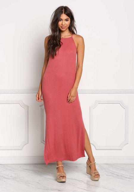 Brick Ribbed Knit Maxi Slit Dress