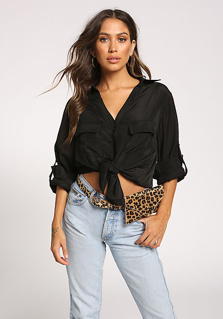 Black Collared Double Pocket Blouse