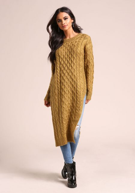 Light Olive Cable Knit Slit Sweater Top