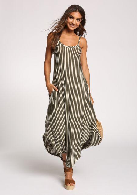 Olive Stripe Pocket Slit Maxi Dress