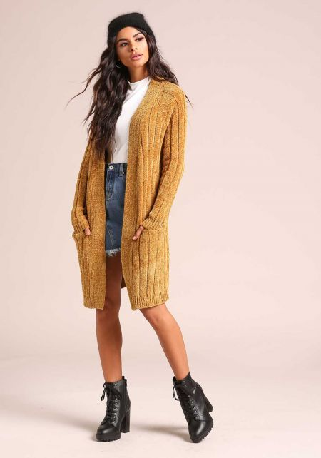 Mustard Soft Thick Ribbed Knit Pocket Cardigan