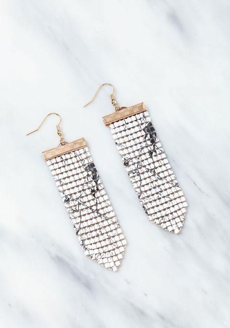 White Marble Chandelier Iridescent Earrings