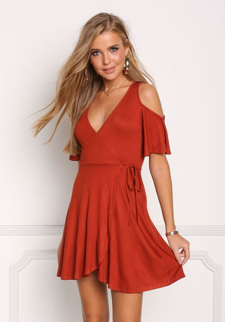 Rust Cold Shoulder Ribbed Knit Faux Wrap Dress