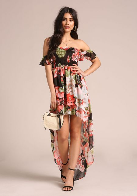 Floral Smocked Off Shoulder Hi-Lo Maxi Dress