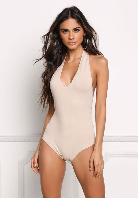 Nude Scoop Halter Jersey Knit Bodysuit