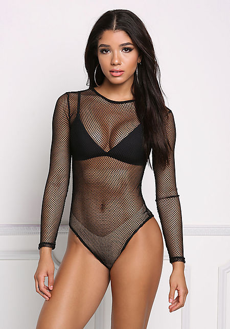 Black Mesh Net Bodysuit