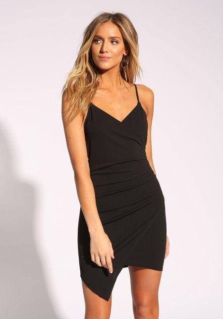 Black Asymmetrical Bodycon Dress