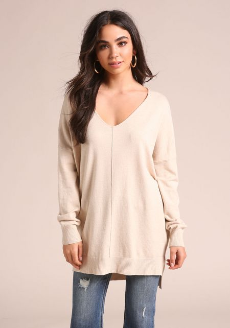 Oatmeal Soft Knit Sweater Top