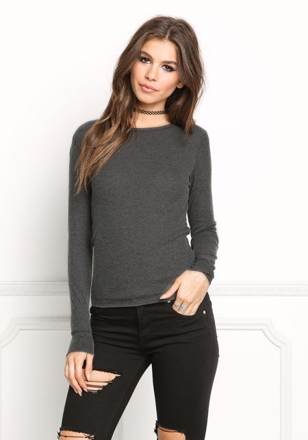 Charcoal Thermal Pullover Top