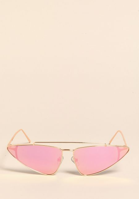 Rose Gold Pointed Top Bar Sunglasses