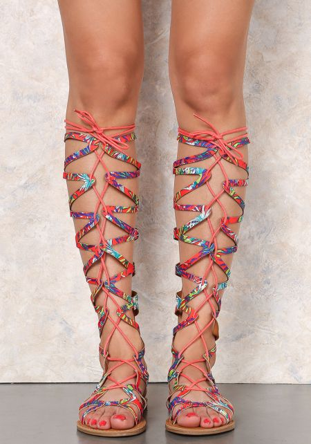 Orange Tropical Criss-Cross Gladiator Sandals