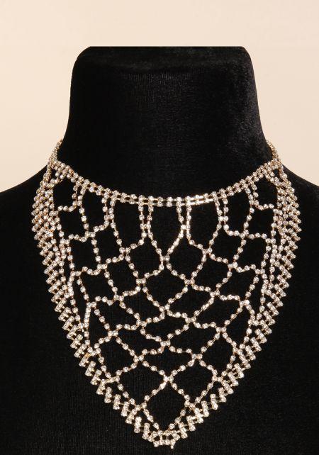 Gold Rhinestone Bandana Necklace