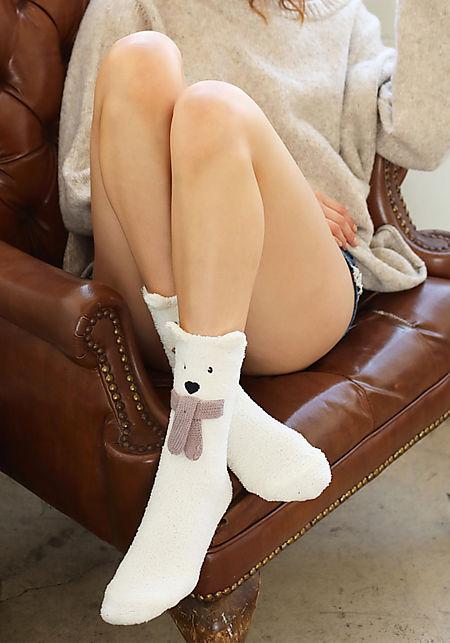 Ivory Bear Plush Socks
