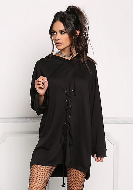 Black Front Lace Up Hooded Shift Dress