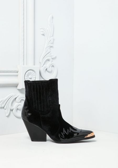 Cape Robbin Black Velvet Pointed Boots