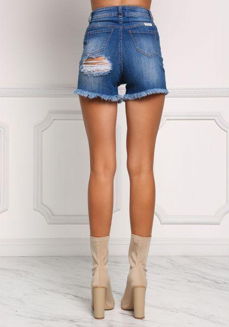 Medium Denim Cut Out Distressed Shorts