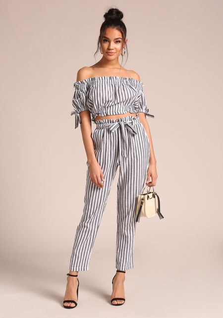 Black and White Pinstripe Paperbag Tie Front Pants