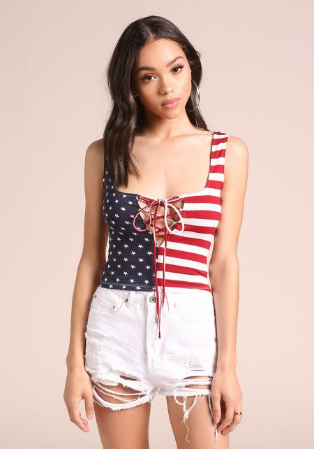 Red Stars & Stripes Lace Up Crop Top