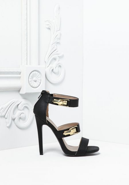 Black Textured Leatherette Multi Strap Heels