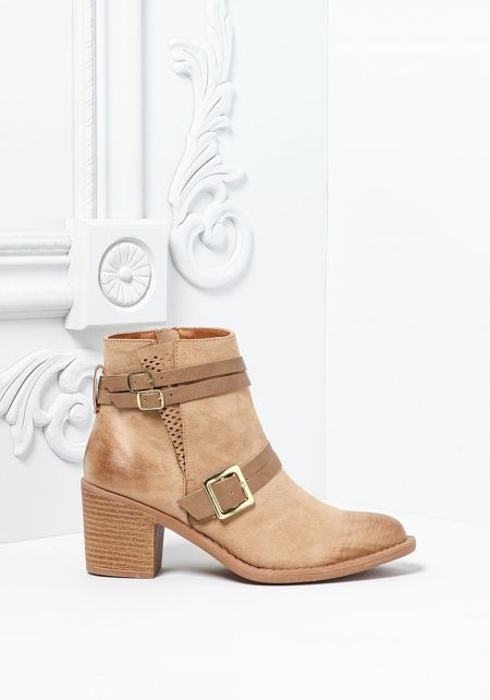 Taupe Suedette Buckle Strap Booties