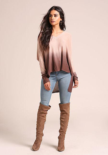Brown Color Block Hi-Lo Knit Top