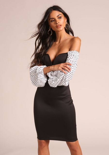 Black Polka Dot Puff Sleeve Sweetheart Dress