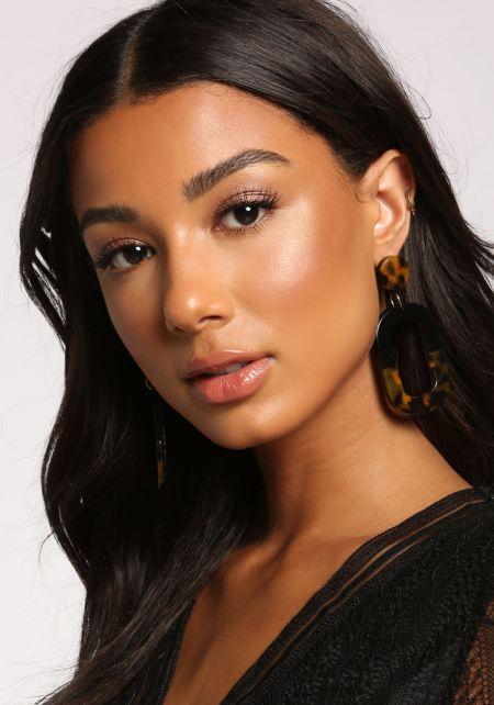 Brown Resin Two Tone Drop Earrings