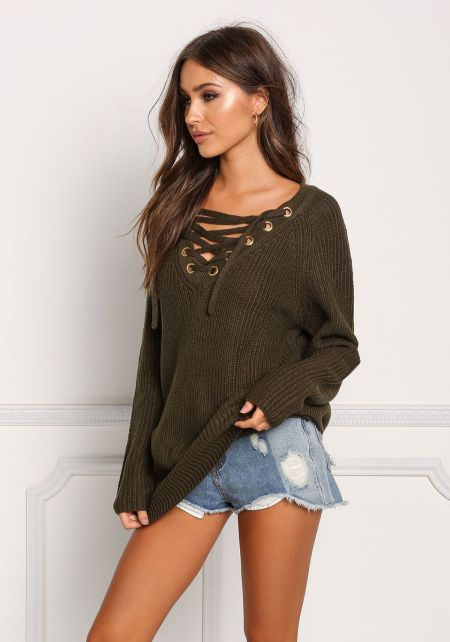 Olive Thick Knit Lace Up Tunic Sweater Top