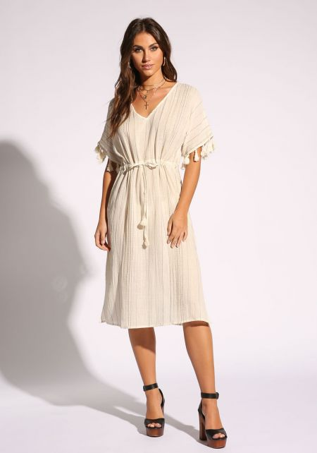 Ivory Pinstripe Tassel Midi Dress