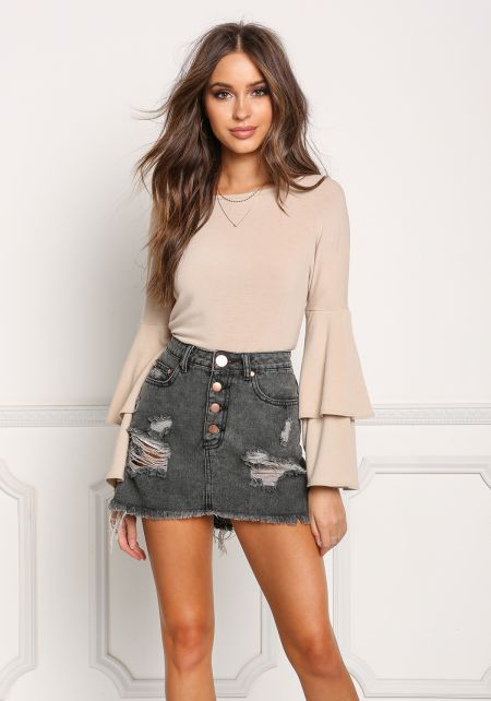 Taupe Layered Bell Sleeve Knit Top