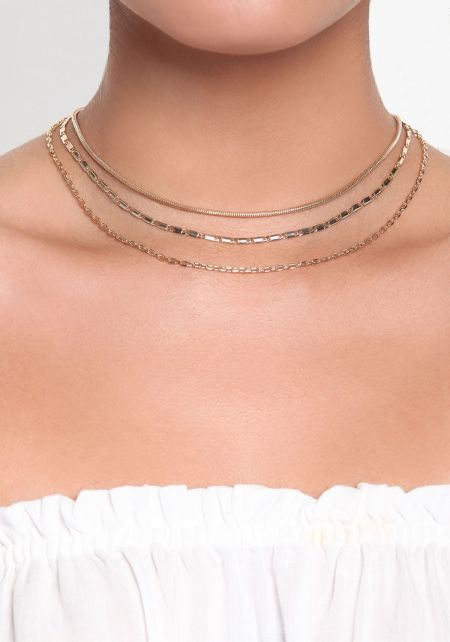 Gold Three Layer Thin Chain Choker