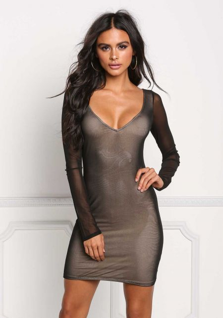 Black Mesh Plunge Bodycon Dress